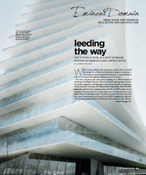 Leeding the Way - Miami Properties go Eco
