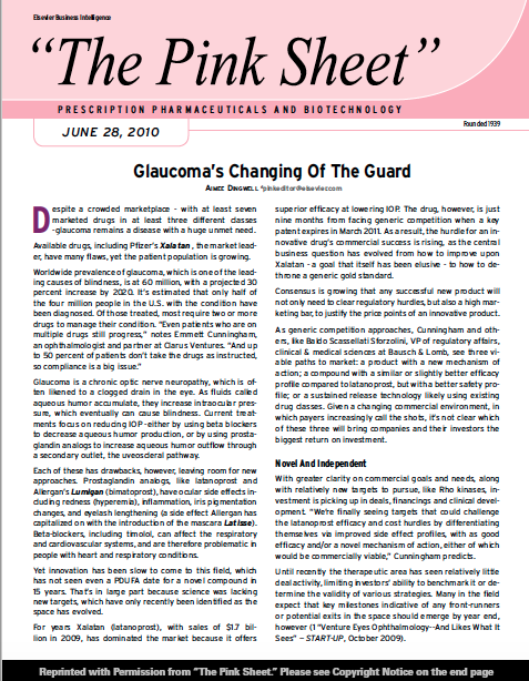 Pink Sheet - Glaucoma's Changing of the Guard